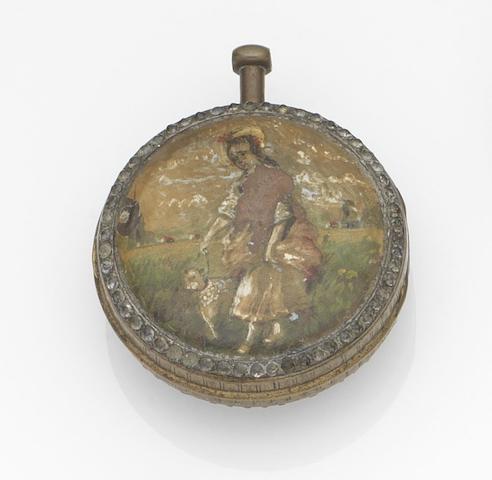 A gilt metal key wind open face pocket watch with enamel back