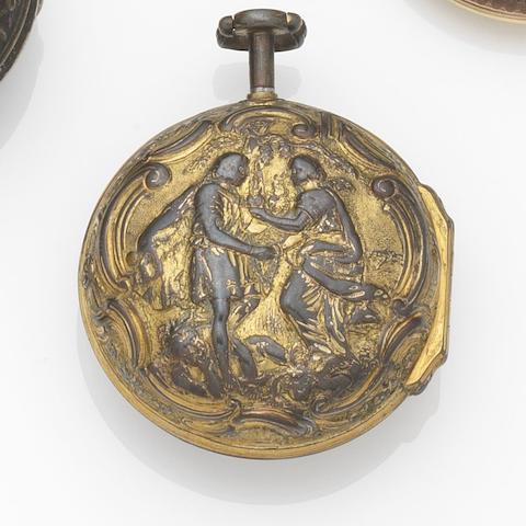 Isaac Hubert, London. A late eighteenth century gilt metal repousse pair case quarter repeater pocket watch
