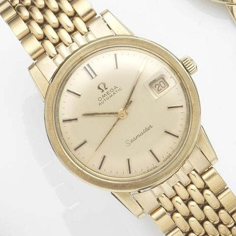 Omega. A gold plated automatic calendar bracelet watch Seamaster, Ref:166.003SP, Movement No.31422116, Circa 1970