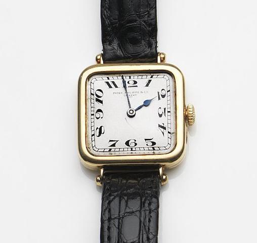 Patek Philippe. An 18ct gold manual wind wristwatch Case No.284390, Movement No.176684, Circa 1920