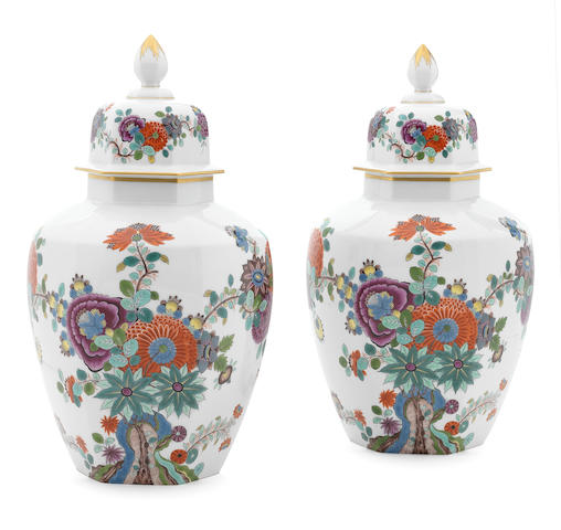 A pair of Meissen hexagonal vases and covers, second half 20th century