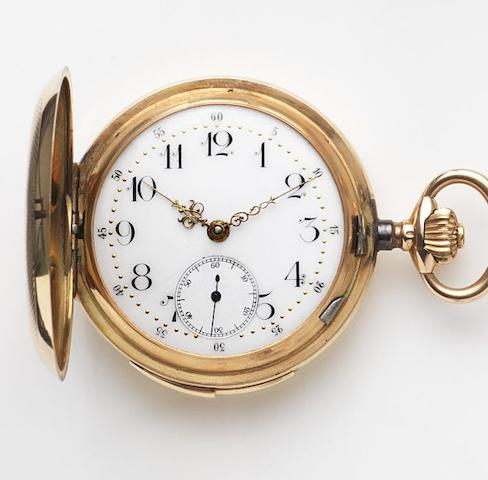Unsigned. A 14ct gold keyless wind full hunter repeating pocket watch Case No.141026 7, Circa 1890