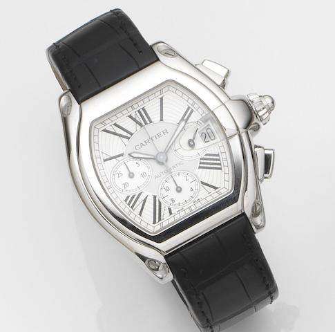 Cartier. A stainless steel oversized automatic calendar chronograph wristwatch with box and papers Roadster S, Ref:2618, Case No.564***CE, Sold 5th January 2005