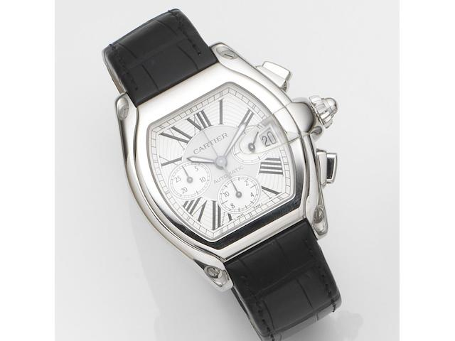 Cartier. A stainless steel oversized automatic calendar chronograph wristwatch with box and papersRoadster S, Ref:2618, Case No.564***CE, Sold 5th January 2005