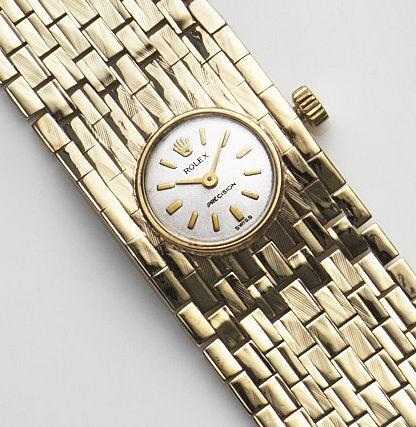 Rolex. A lady's 9ct gold manual wind bracelet watch Precision, Case No.60804, Birmingham Hallmark for 1966