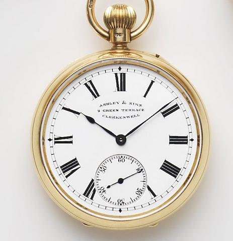Ashley & Sims, Clerkenwell. An 18ct gold keyless wind open face pocket watch Case and Movement No.05457, London Hallmark for 1911