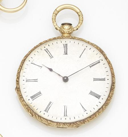 Unsigned. An 18ct gold key wind open face pocket watchCase No.1675, Circa 1850