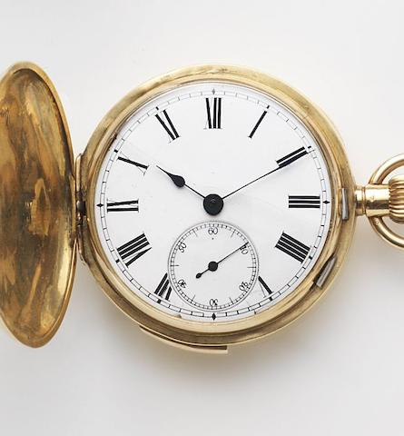 Unsigned. An 18ct gold keyless wind full hunter quarter repeating pocket watch Case No.10417, Circa 1890