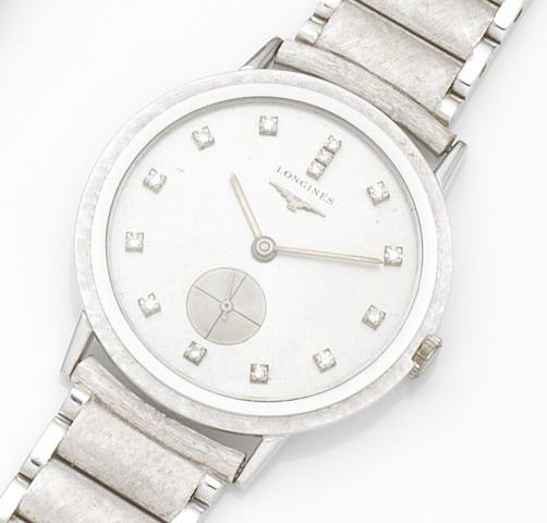 Longines. A 14ct white gold and diamond set bracelet watch with box and papers Ref:179, Case No.714866, Movement No.11426427, Circa 1960