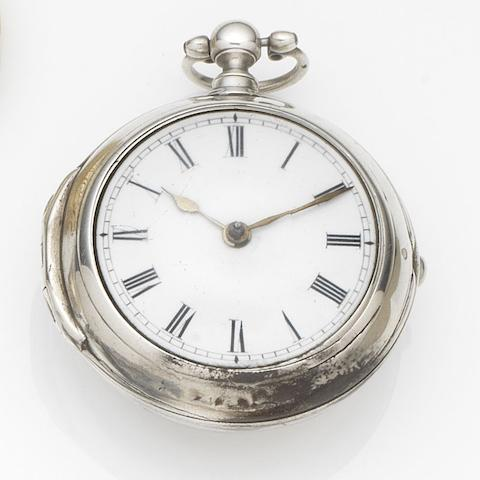 John Hastler, London. A silver pair case pocket watch Movement No.101, London Hallmark for 1757