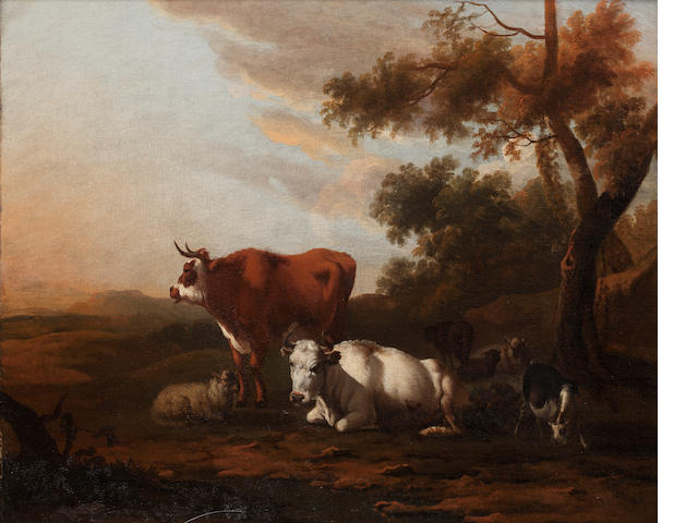 Circle of Eugène Verboeckhoven (Belgian, 1798-1881) Cattle, goats and sheep in a landscape