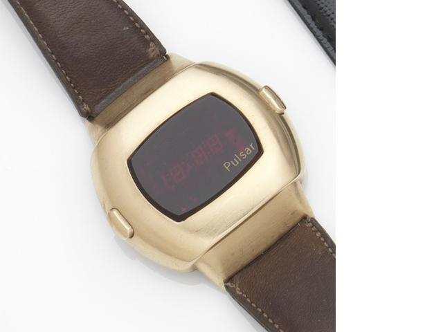Pulsar. A gold plated quartz digital calendar wristwatch Date Command, Ref:3100, Case No.310469, Circa 1975