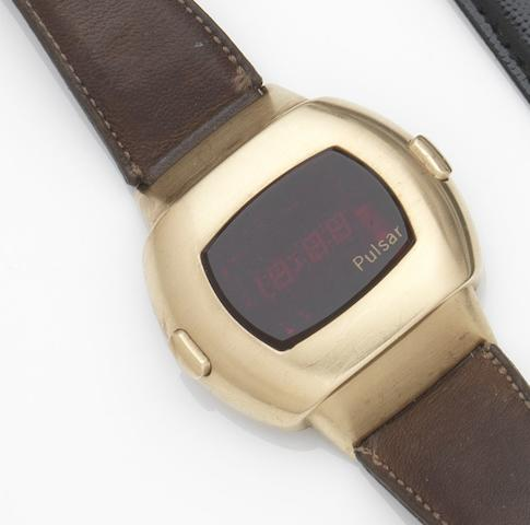 Pulsar. A gold plated quartz digital calendar wristwatch Date Command, Ref:3100, Case No.310469, Circa 1975