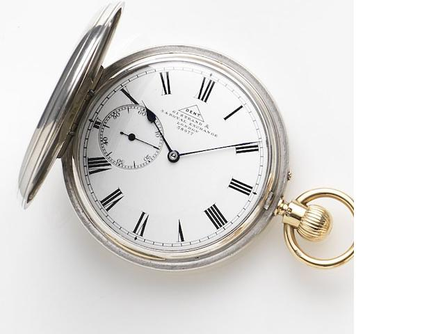 Dent. A silver keyless wind full hunter pocket watch No.38977, London hallmark for 1879