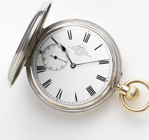 Dent. A silver keyless wind full hunter pocket watch No.38977, London hallmark for 1879