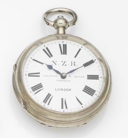 Gillet & Bland. A steel key wound open face goliath watch made for the New Zealand Railway Case and Movement No.2445, Circa 1850