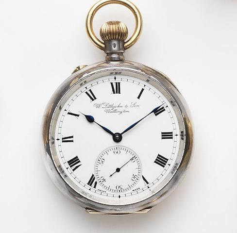 Retailed by W.Littejohn & Son, Wellington. A silver keyless wind open face pocket watchCase No.439761, Movement No.406595, London Hallmark for 1908
