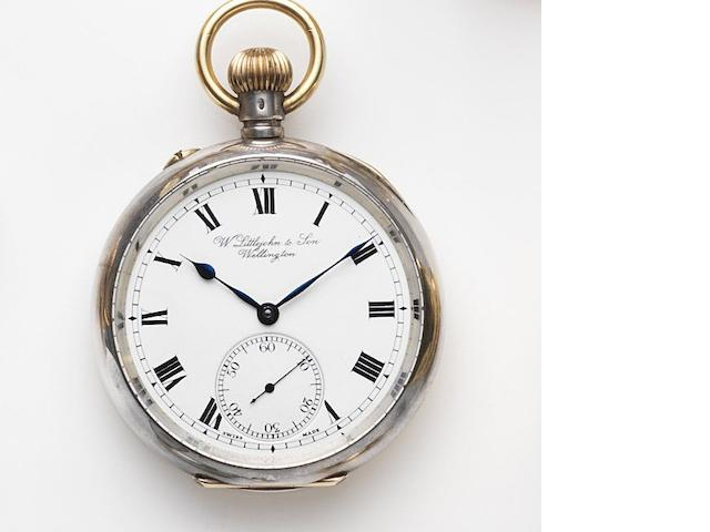 Retailed by W.Littejohn & Son, Wellington. A silver keyless wind open face pocket watch Case No.439761, Movement No.406595, London Hallmark for 1908