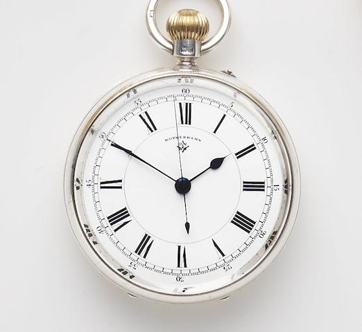Rotherhams. A silver keyless wind open face centre seconds pocket watch London hallmark for 1913
