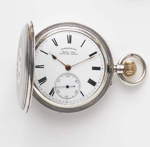 Rotherams. A silver keyless wind full hunter pocket watch Made for Laidlaw Leeds, Birmingham hallmark for 1912