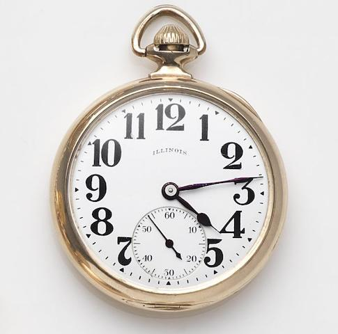 Illinois. A gold plated keyless wind open face pocket watchCirca 1930's