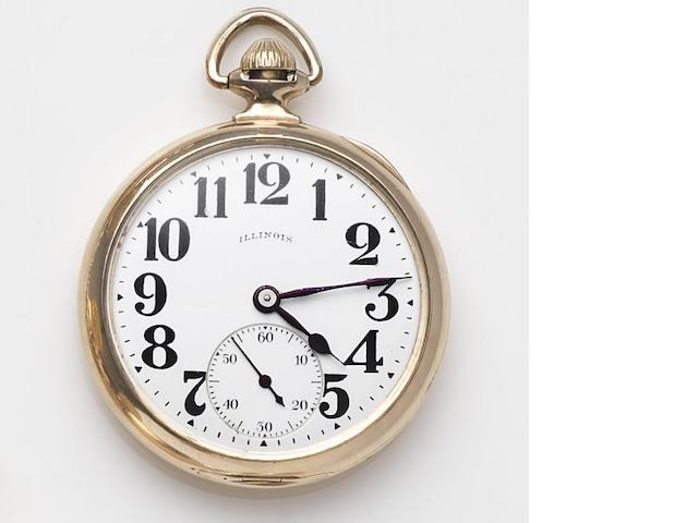 Illinois. A gold plated keyless wind open face pocket watch Circa 1930's