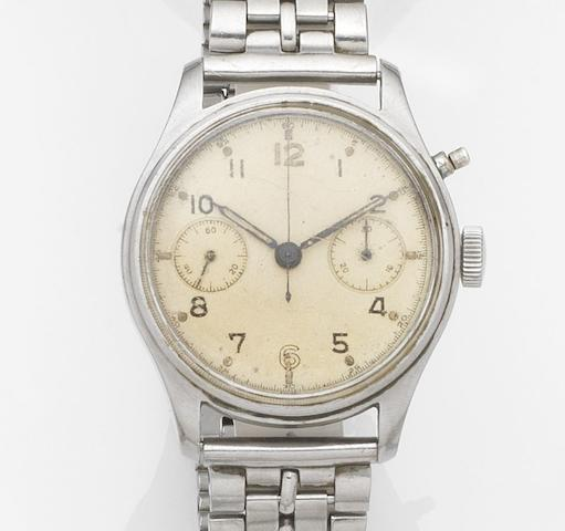 Lemania. A stainless steel manual wind single button chronograph military issue bracelet watch Circa 1950
