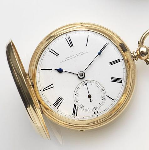Edwin Flinn, London. An 18ct gold key wind full hunter pocket watchCase and Movement No.18960, London Hallmark for 1878
