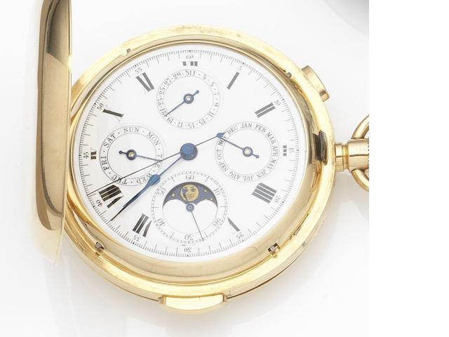 Swiss. An 18ct gold keyless wind quarter repeating triple calendar full hunter chronograph pocket watch with moon phases Case No.39141, London Hallmark for 1912