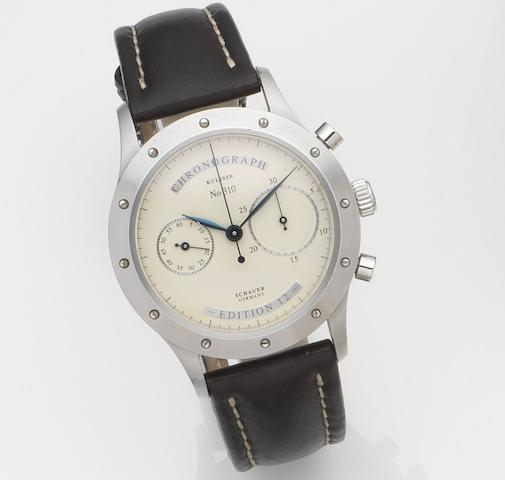 Schauer. A stainless steel automatic chronograph wristwatchEdition 12, Case No.310, Sold 3rd August 2009