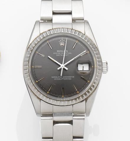 Rolex. A stainless steel automatic calendar bracelet watch Datejust, Ref:1603, Case No.3926504, Movement No.D130543, Circa 1974