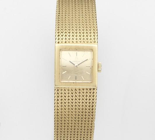 Omega. A lady's 18ct gold manual wind bracelet watch Ref:8103, Case No.678466, Movement No.24931655, London Hallmark for 1966