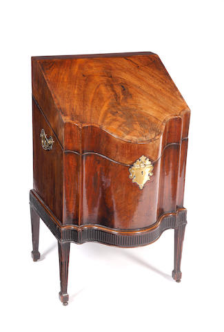 A George III mahogany and cross-banded wine cooler