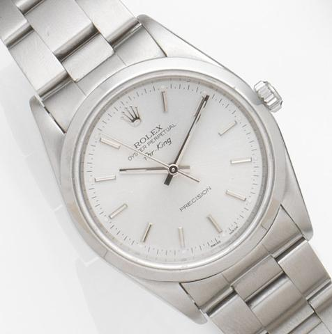 Rolex. A stainless steel automatic centre seconds bracelet watch with service papers Air King, Ref:14000, Case No.W211***, Movement No.464****, Circa 1994