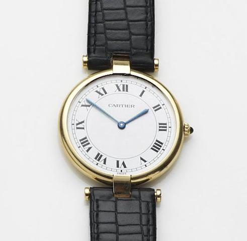 Cartier. An 18ct gold quartz wristwatch Must de Cartier, Case No.810013864, Sold 20th March 1985