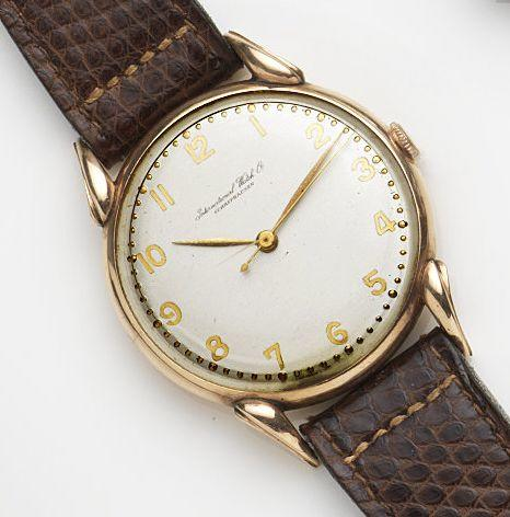 IWC. An 18ct rose gold manual wind centre seconds wristwatchCase No.22444, Movement No.1138783, Circa 1965