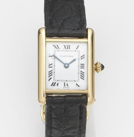 Cartier. A lady's 18ct gold manual wind wristwatchTank, Case No.7808713486, Movement No.2512-1, Circa 1990