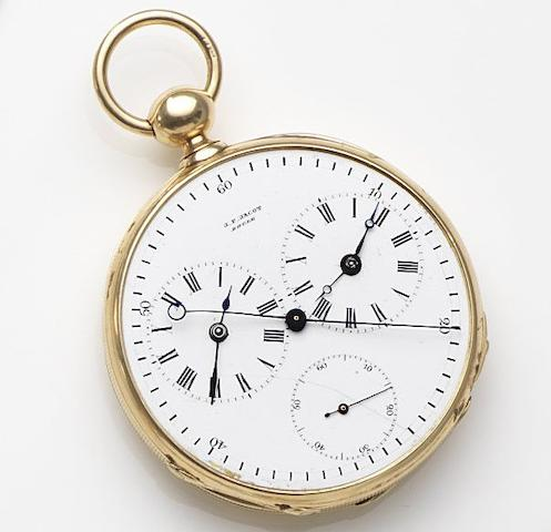 J.E.Jocot, Locle. An 18ct gold key wind dual timezone dead second open face pocket watchCase No.14932, Circa 1850
