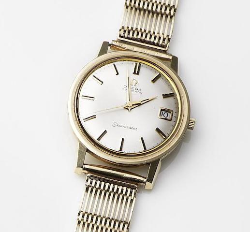 Omega. A 9ct gold automatic bracelet watch Seamaster, Ref:165/6-5003, Movement No.22725735, Birmingham Hallmark for 1965