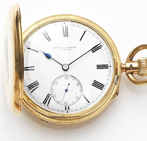 John Cashmore, London. An 18ct gold keyless wind full hunter pocket watch Case and Movement No.6843, London Hallmark for 1892