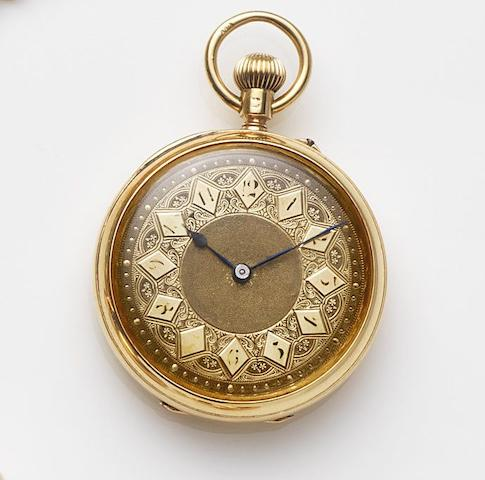 Thomas Hill & Co, Coventry. An 18ct gold keyless wind open face pocket watchCuvette and Movement No.33223, London Hallmark for 1882