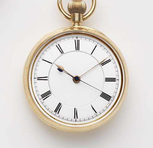 Wright and Craighead Successors to Bracebridges, Clerkenwell. An 18ct gold keyless wind centre seconds open face pocket watch Case and Movement No.8069, London Hallmark for 1894