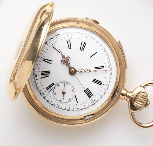 Swiss. An 18ct gold keyless wind quarter repeating chronorgaph full hunter pocket watchCase No.2968, Circa 1900