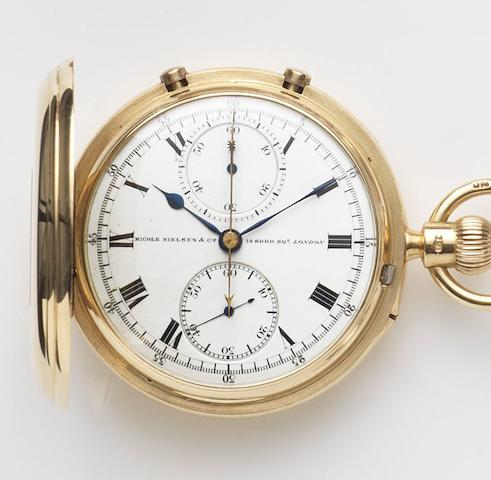 Nicole Nielsen & Co, London. An 18ct gold keyless wind split second chronograph full hunter pocket watch Case and Movement No.12560, London Hallmark for 1912
