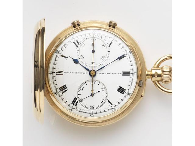 Nicole Nielsen & Co, London. An 18ct gold keyless wind split second chronograph full hunter pocket watchCase and Movement No.12560, London Hallmark for 1912