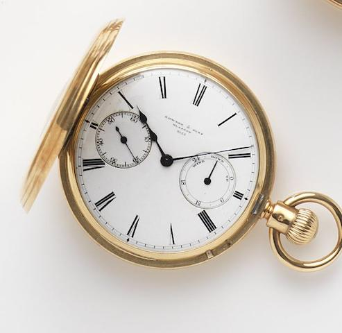 George Edward & Sons, London. An 18ct gold keyless wind half hunter pocket watch with up and down dial Dial and Movement No.2155, London Hallmark for 1888