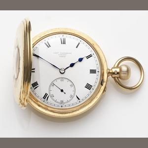 Charles Frodsham, London. An 18ct gold keyless wind half hunter pocket watch Case, Dial and Movement No.09030, London Hallmark for 1903
