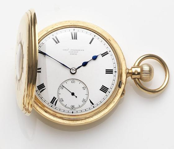 Charles Frodsham, London. An 18ct gold keyless wind half hunter pocket watchCase, Dial and Movement No.09030, London Hallmark for 1903