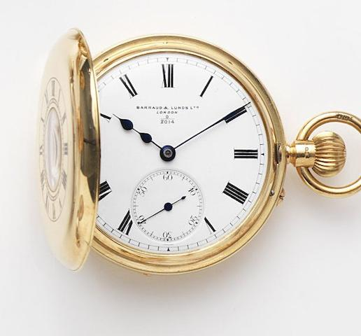 Barraud & Lunds, London. An 18ct gold keyless wind half hunter pocket watchCase No.725, Dial and Movement No.0 2014, London Hallmark for 1919