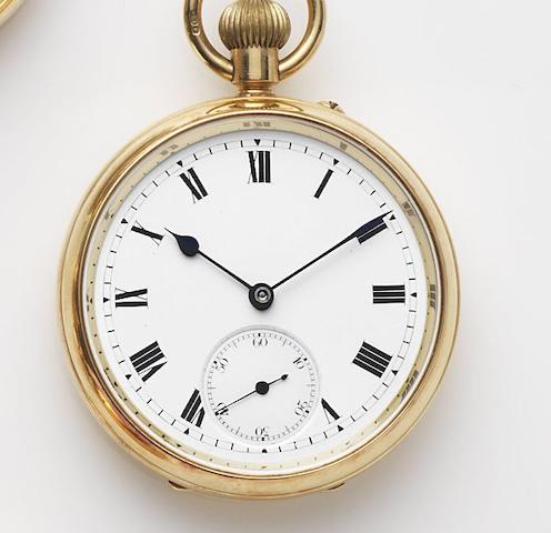Unsigned. An 18ct gold keyless wind open face pocket watch Case and Movement No.35917, London Hallmark for 1920